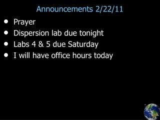 Announcements 2/22/11