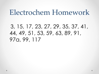 Electrochem Homework