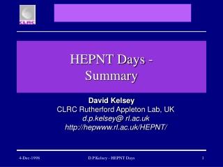 HEPNT Days - Summary