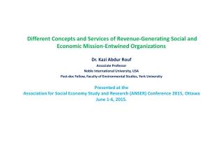 Dr. Kazi Abdur Rouf Associate Professor Noble International University, USA