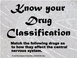 Know your Drug Classification