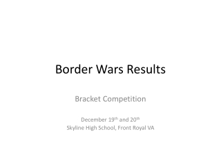 Border Wars Results