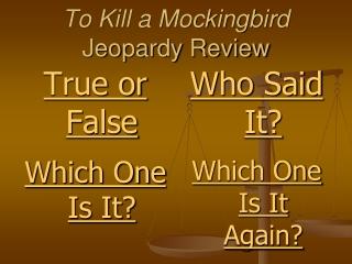 To Kill a Mockingbird Jeopardy Review