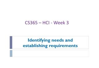 Identifying needs and establishing requirements