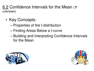 6.2  Confidence Intervals for the Mean  (  unknown )