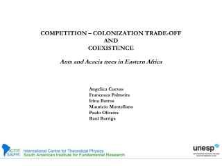 COMPETITION – COLONIZATION TRADE-OFF  AND  COEXISTENCE
