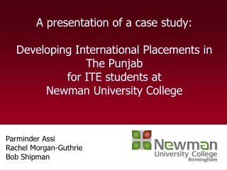 A presentation of a case study:  Developing International Placements in The Punjab