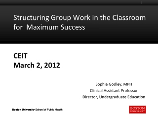 Structuring Group Work in the Classroom for  Maximum Success CEIT March 2, 2012
