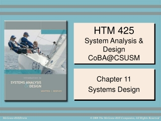 HTM 425 System Analysis & Design CoBA@CSUSM