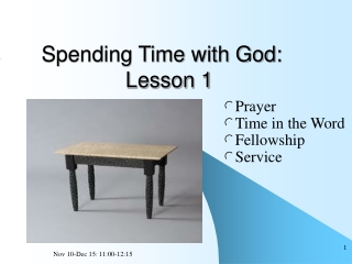 Spending Time with God:               Lesson 1