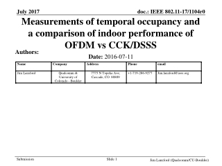 Measurements of temporal occupancy and a comparison of indoor performance of OFDM vs CCK/DSSS