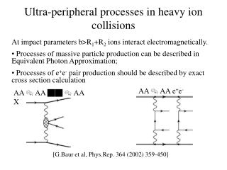 Ultra-peripheral processes in heavy ion collisions