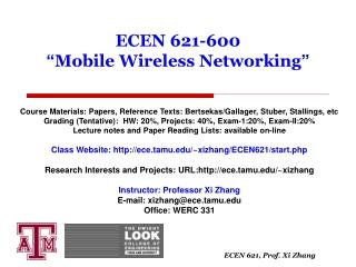 "ECEN 621-600  "" Mobile Wireless Networking """