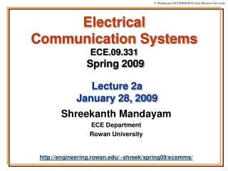 Electrical  Communication Systems ECE.09.331 Spring 2009