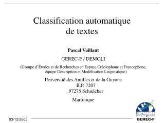 Classification automatique de textes