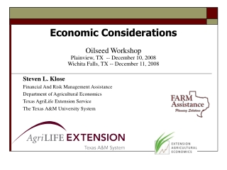 Steven L. Klose Financial And Risk Management Assistance Department of Agricultural Economics