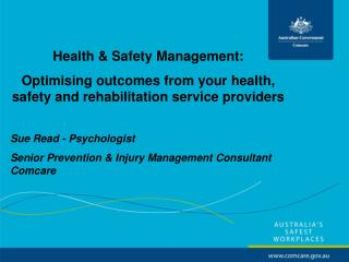 Health & Safety Management:  Optimising outcomes from your health, safety and rehabilitation service providers Sue R