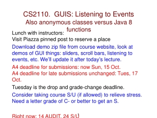 CS2110.  GUIS: Listening to Events