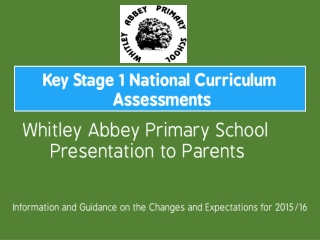 Key Stage 1 National Curriculum  Assessments