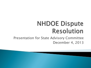 NHDOE Dispute Resolution