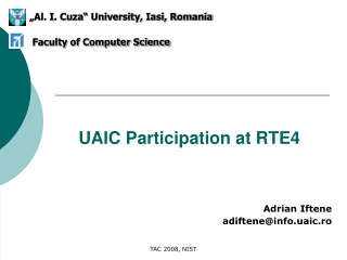 UAIC Participation at RTE4