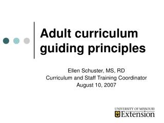 Adult curriculum guiding principles