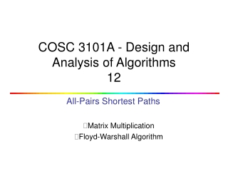 COSC 3101A - Design and Analysis of Algorithms 12