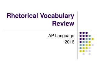 Rhetorical Vocabulary Review