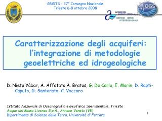 Caratterizzazione degli acquiferi: l'integrazione di metodologie geoelettriche ed idrogeologiche