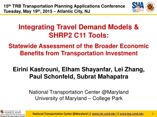National Transportation Center @Maryland ||  ntc.umd  ||  tep.umd