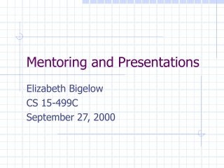 Mentoring and Presentations