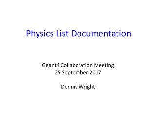 Physics List Documentation