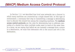 (MACP) Medium Access Control Protocol