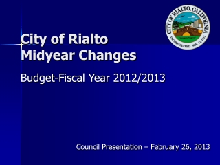 City of Rialto Midyear Changes