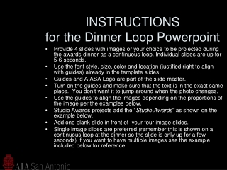 INSTRUCTIONS for the Dinner Loop Powerpoint