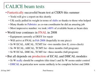 CALICE beam tests
