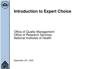 Introduction to Expert Choice