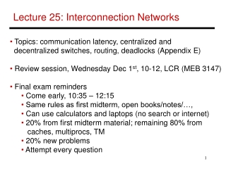 Lecture 25: Interconnection Networks