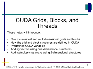 ITCS 5/4145 Parallel computing, B. Wilkinson,  April 17, 2014. CUDAMultiDimBlocks