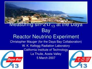 Measuring sin 2 2 q 13  at the Daya Bay  Reactor Neutrino Experiment