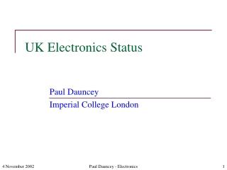 UK Electronics Status