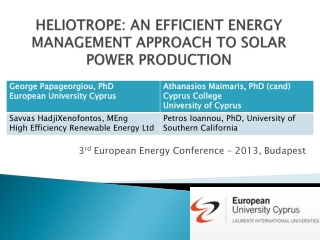 HELIOTROPE: AN EFFICIENT ENERGY MANAGEMENT APPROACH  TO SOLAR  POWER PRODUCTION