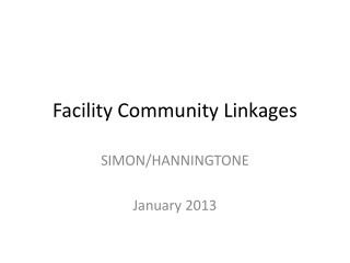 Facility Community Linkages