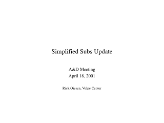 Simplified Subs Update