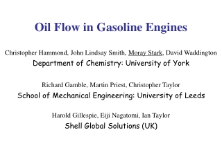 Oil Flow in Gasoline Engines