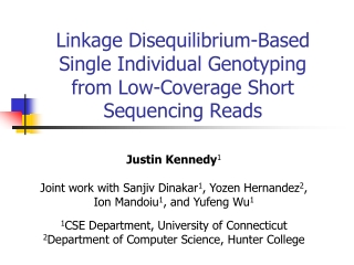 Linkage Disequilibrium-Based Single Individual Genotyping from Low-Coverage Short Sequencing Reads