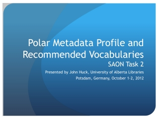 Polar Metadata Profile and Recommended Vocabularies SAON Task 2