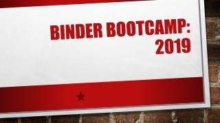Binder Bootcamp: 2019