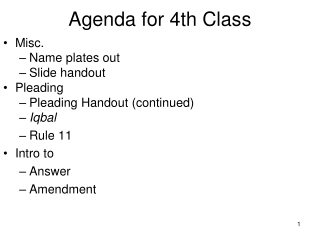 Agenda for 4th Class