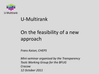 U-Multirank On the feasibility of a new approach
